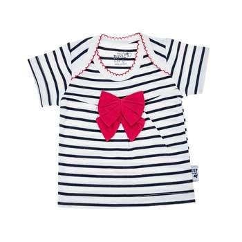 تی شرت آستین کوتاه نوزادی نیلی مدل Red Bow