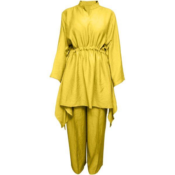 مانتو و شلوار زنانه مدل پریناز رنگ زرد