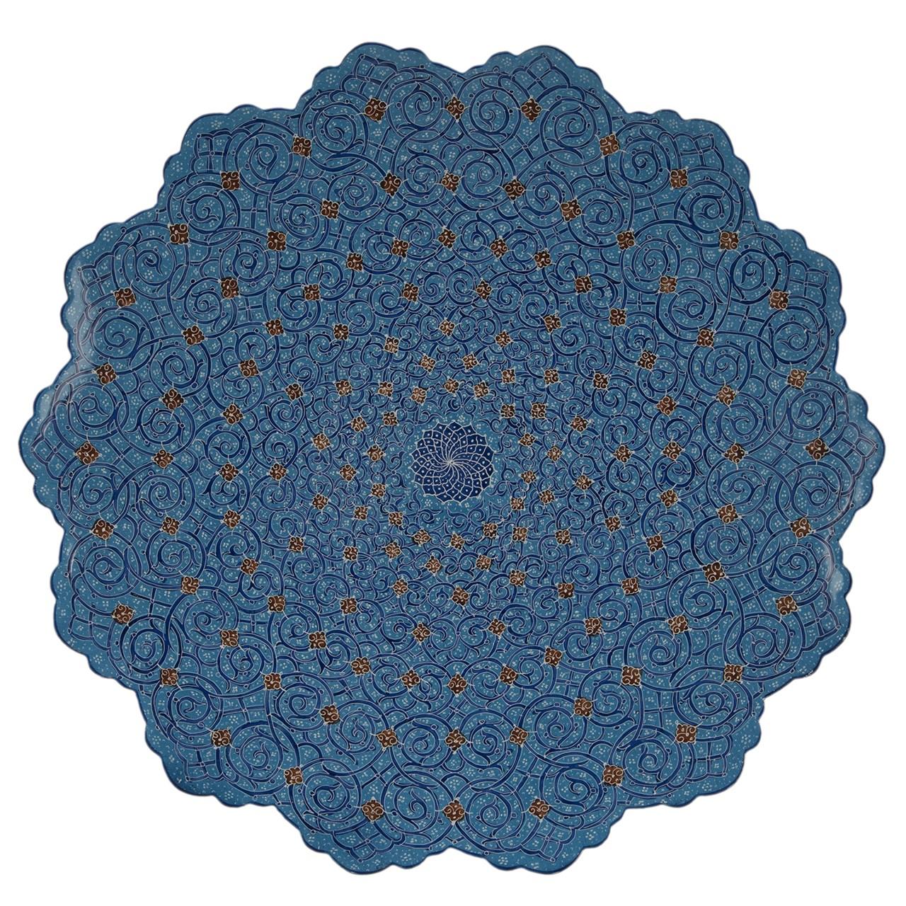 بشقاب مسی میناکاری شده اثر اسماعیلی طرح اسلیمی قطر 30 سانتی متر