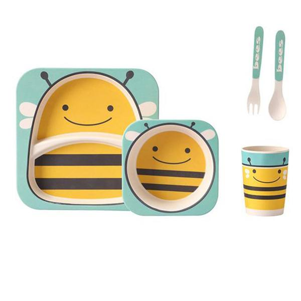 ظرف غذای کودک نقطه مدل Bees - ست 5 تکه