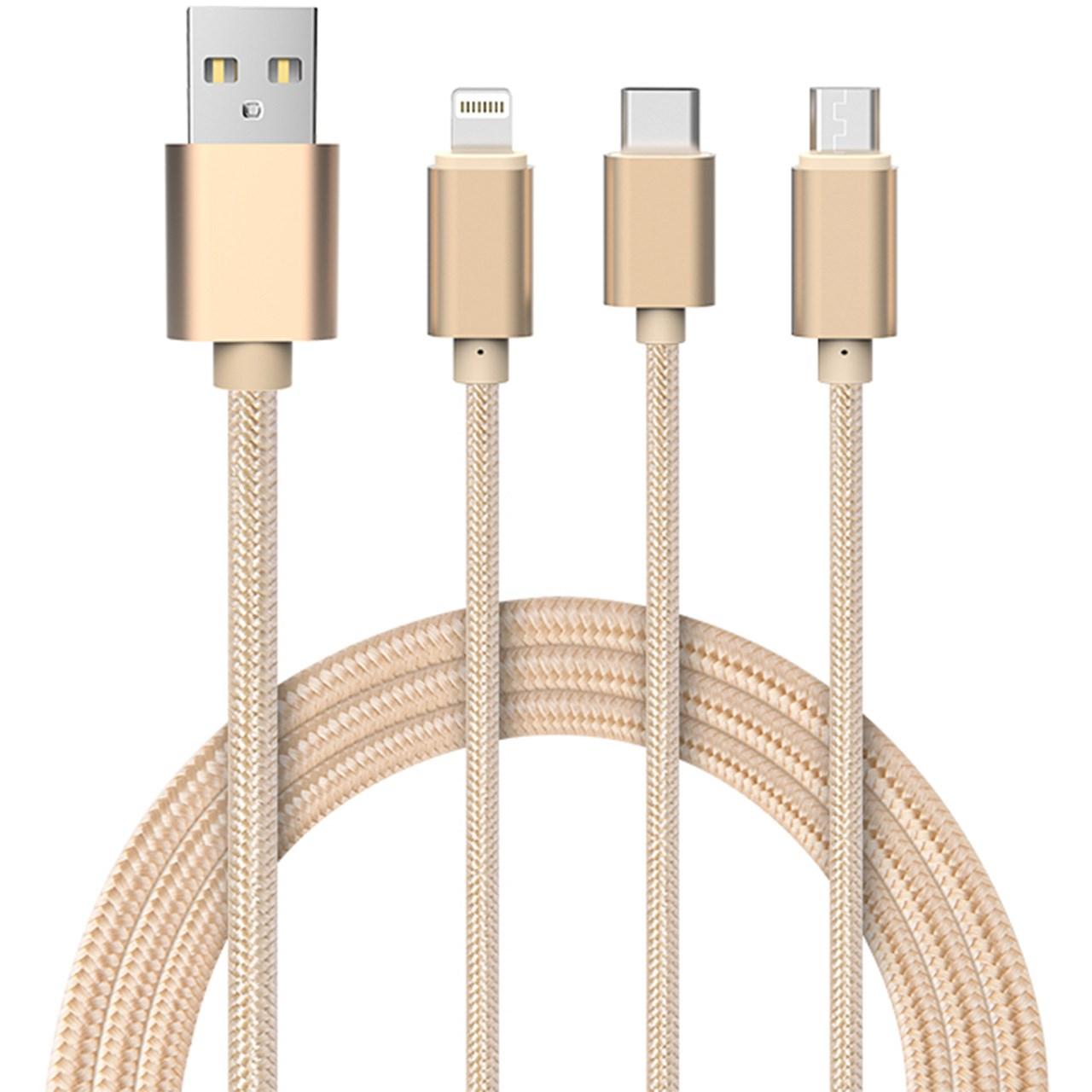 کابل تبدیل USB به microUSB/لایتنینگ/USB-C جی روم مدل S-M320 3 In 1 به طول 1.28 متر