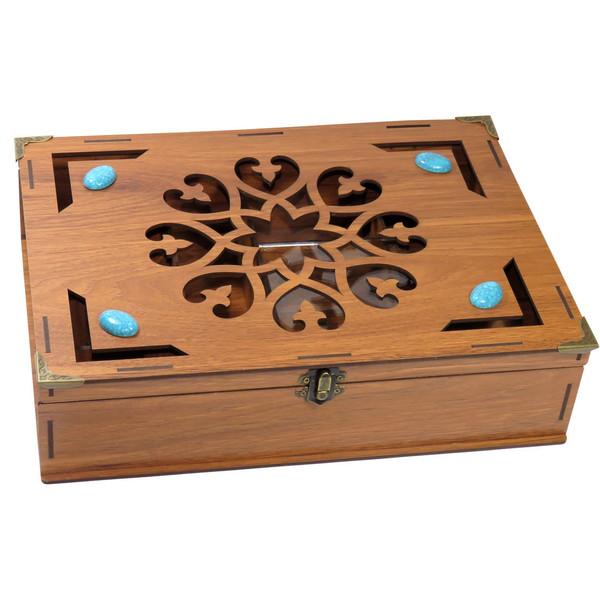 جعبه پذیرایی دمنوش چای کیسه ای لوکس باکس مدل فیروزه  کد LB011