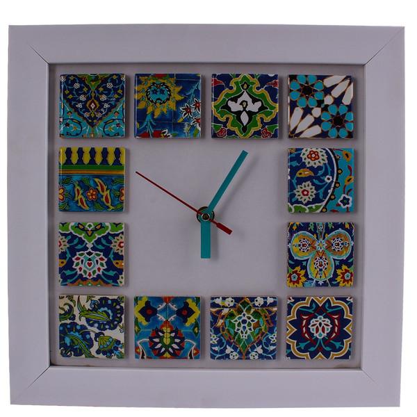 ساعت دیواری وندا مدل کاشی سنتی سایز بزرگ زمینه سفید