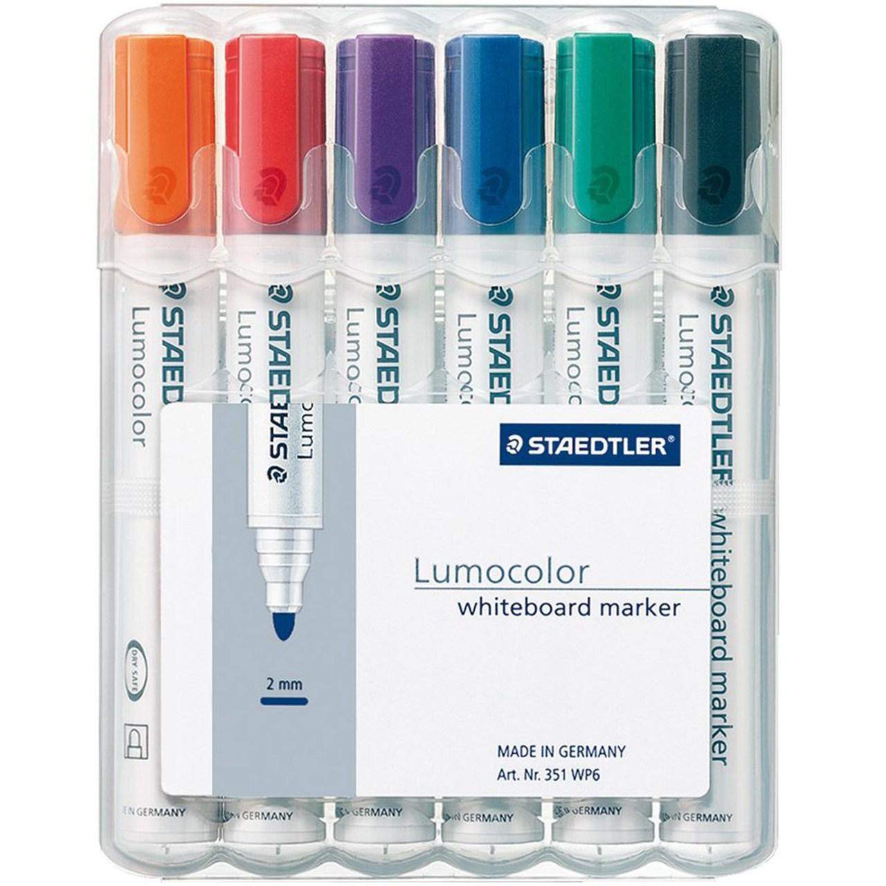 ماژیک وایت برد 6 رنگ استدلر مدل Lumocolor
