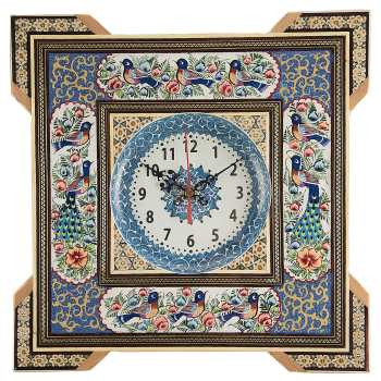 ساعت خاتم کارگاه رستا با صفحه میناکاری شده طرح گل و مرغ قطر 15 سانتی متر