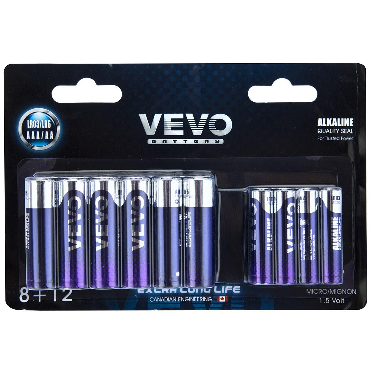 باتری قلمی و نیم قلمی ویوو مدل Alkaline LR03 LR6 بسته 20 عددی