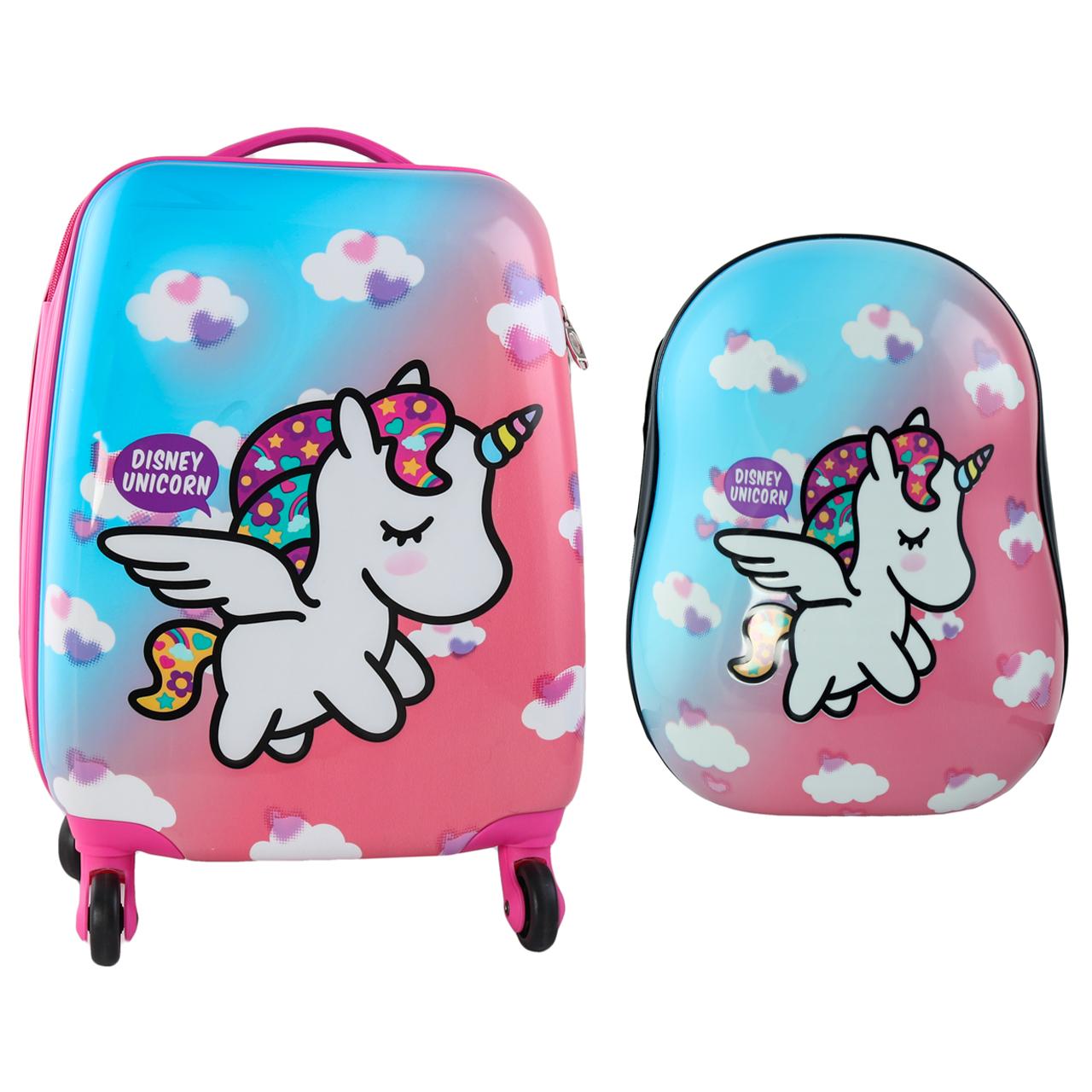 چمدان کودک مدل طرح یونی کورن کد 4 به همراه کوله پشتی