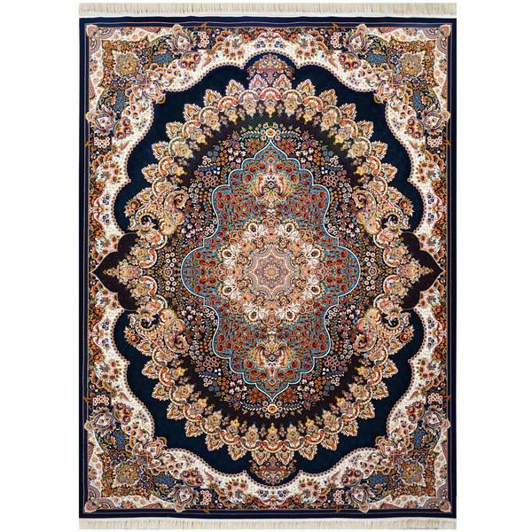 فرش ماشینی احتشامیه طرح ارکیده زمینه سورمه ای