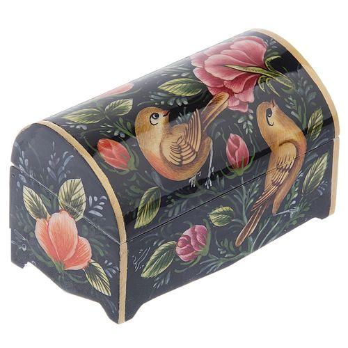 جعبه استخوانی طرح گل و مرغ زمینه سیاه