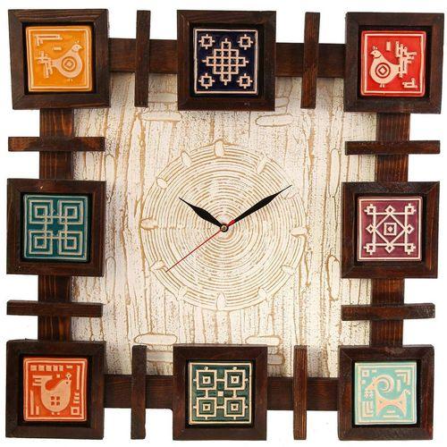ساعت فرسکو گالری اسعدی طرح پتینه سفید مربع کد 66078