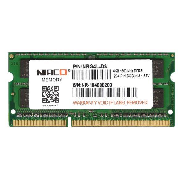 رم لپ تاپ1.35V  نیاکو مدلNRG4L-D3  فرکانس 1600 مگاهرتز  ظرفیت 4 گیگابایت