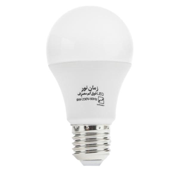 لامپ ال ای دی 9 وات زمان نور مدل حبابی پایه E27