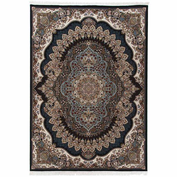 فرش ماشینی دنیای فرش طرح ارکیده زمینه سورمه ای