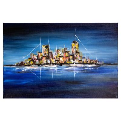 Photo of تابلو نقاشی گالری خورشید طرح شب بندر کد MA113