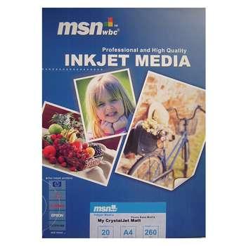 کاغذ چاپ عکس مات ام اس ان دبلیو بی سی مدل CrystalJet Matt سایز A4 بسته 20 عددی