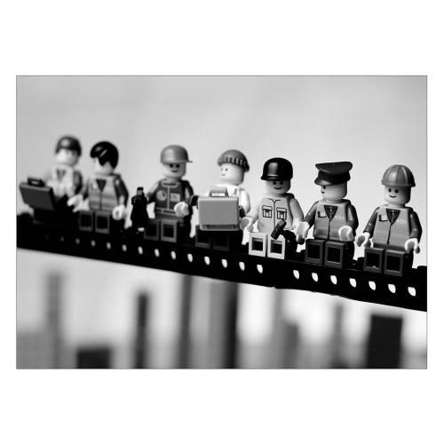 تابلو شاسی ونسونی طرح Lego Empire State Building Breakfast  سایز 50x70 سانتی متر
