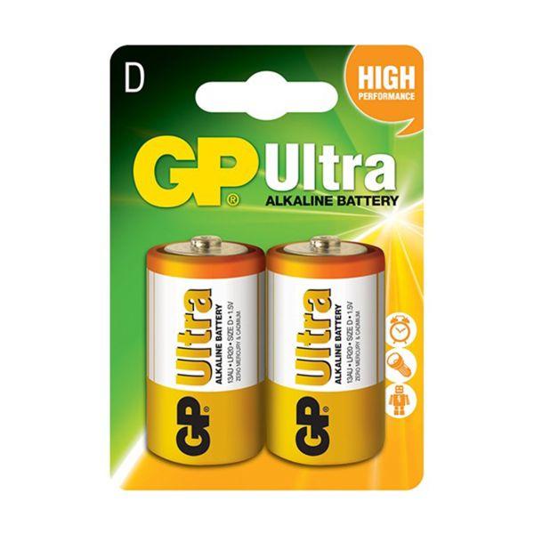 باتری بزرگ سایز D جی پی مدل Ultra Alkaline بسته 2 عددی