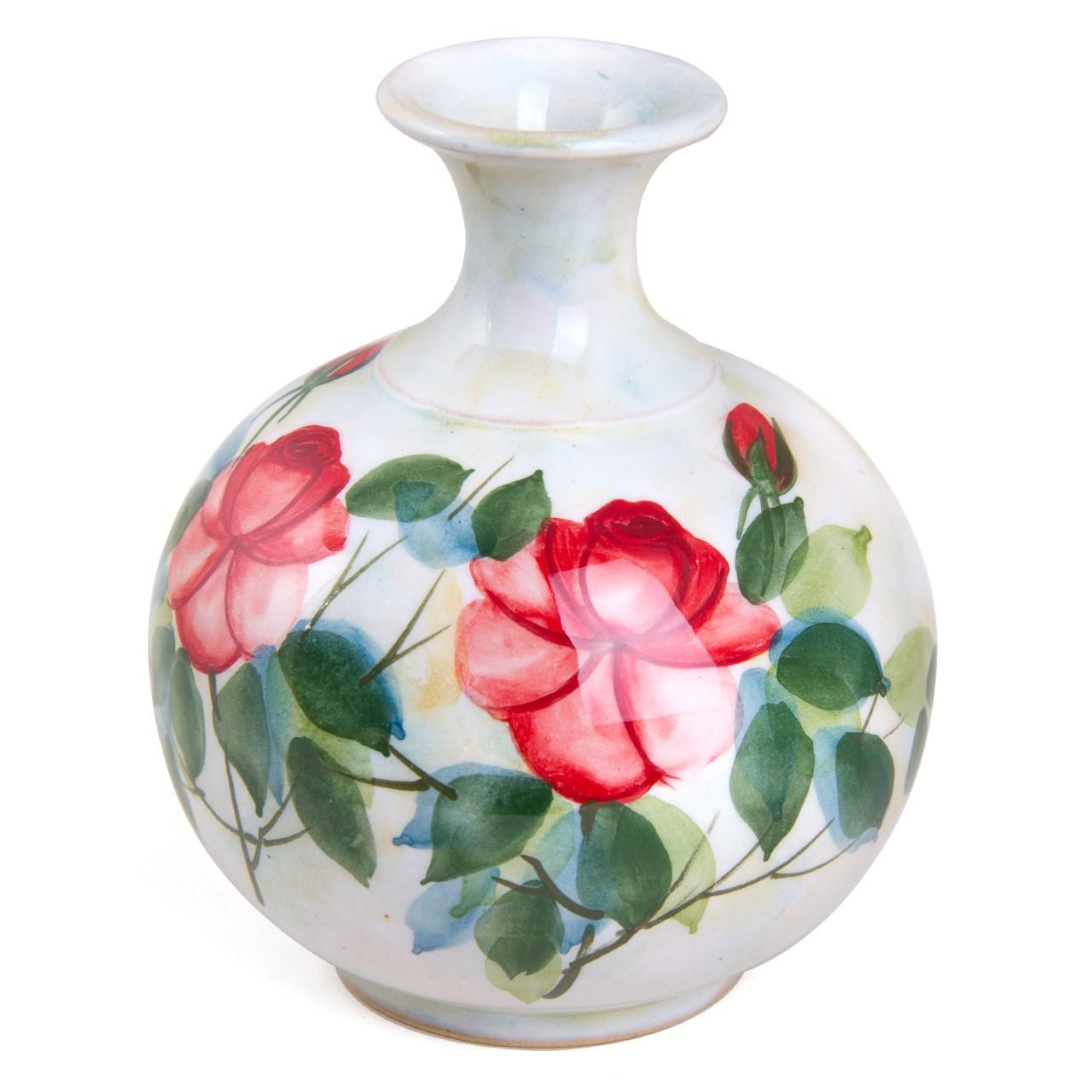 گلدان سفالی لبه شیپوری کارگاه خاکاب طرح رز کوچک