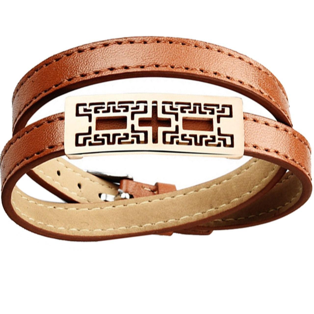 دستبند چرمی روزینی مدل MB15-1