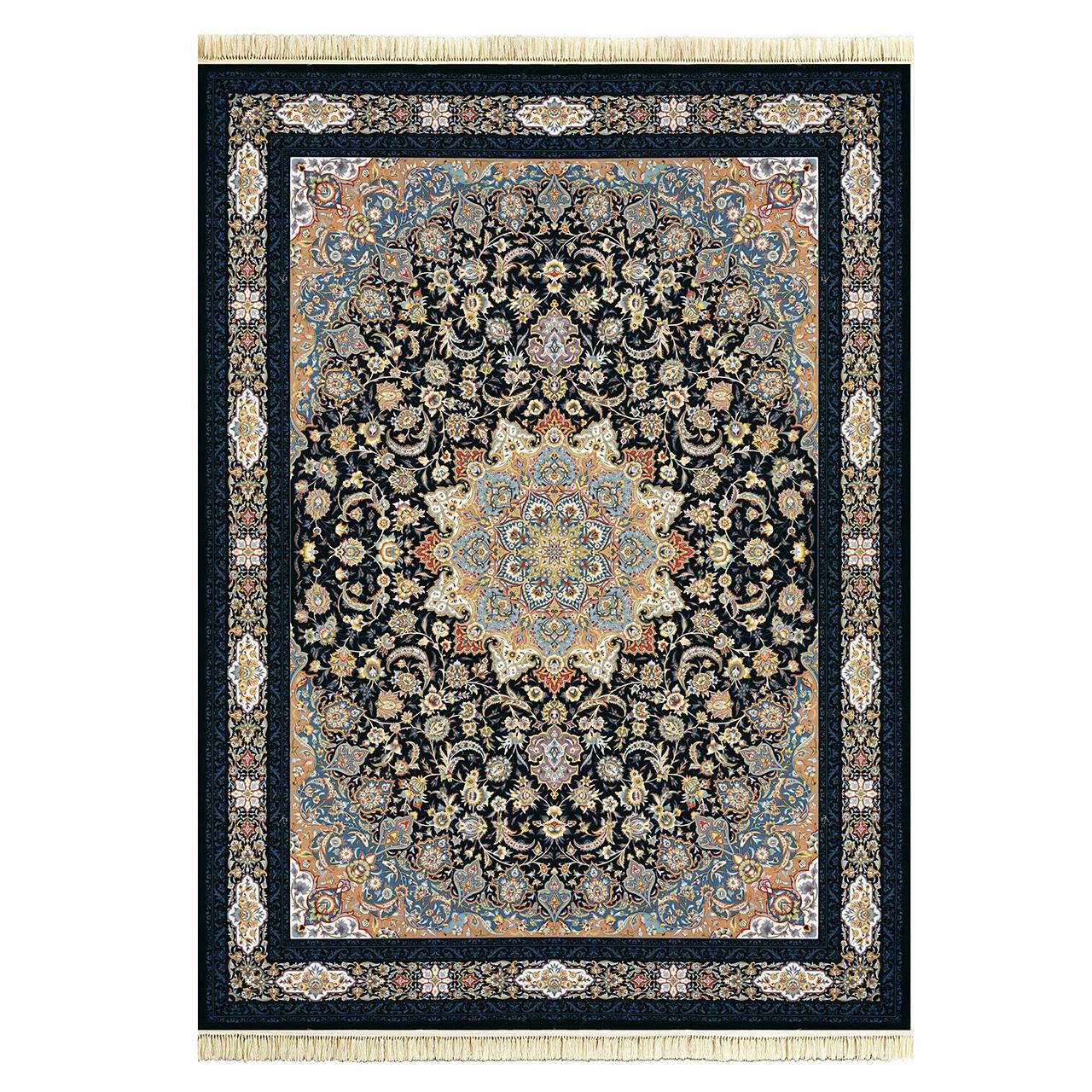 فرش ماشینی داریوش گل برجسته کد 1209 زمینه سرمه ای