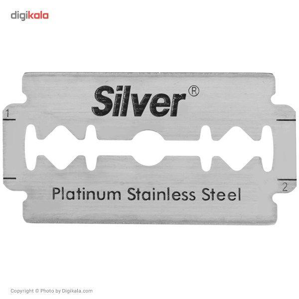 تیغ یدک سنتی سیلور مدل Platinum Stainless Steel Double Edge بسته 10 عددی main 1 2