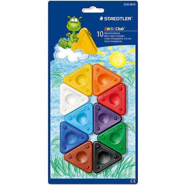 مداد شمعی مثلثی 10 رنگ استدلر مدل Noris Club