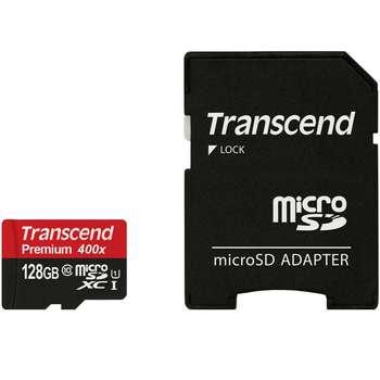 کارت حافظه microSDXC ترنسند مدل Premium کلاس 10 استاندارد UHS-I U1 سرعت 60MBps 400X همراه با آداپتور SD ظرفیت 128 گیگابایت | Transcend Premium UHS-I U1 Class 10 60MBps 400X microSDXC With Adapter - 128GB