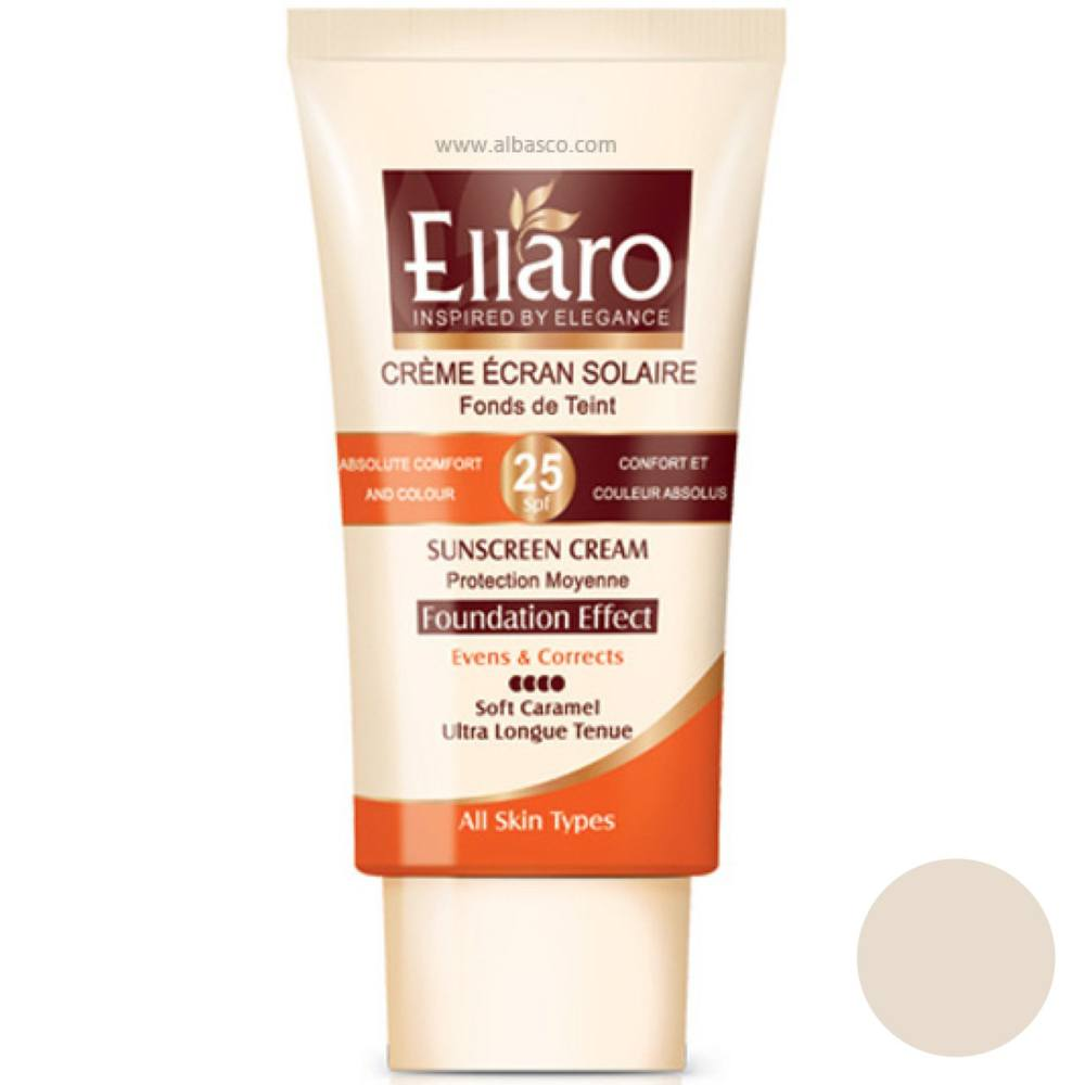 تصویر کرم ضد آفتاب رنگی الارو SPF25 مناسب انواع پوست رنگ بژ روشن 40 میل Ellaro Tinted Sunscreen SPF25 Cream Light Beige 40ml