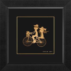 تابلوی طلاکوب زرسام طرح دختر و پسر و دوچرخه سایز 38 × 38 سانتی متر