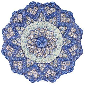 بشقاب مسی میناکاری شده اثر شیرازی طرح 4 قطر 20 سانتی متر