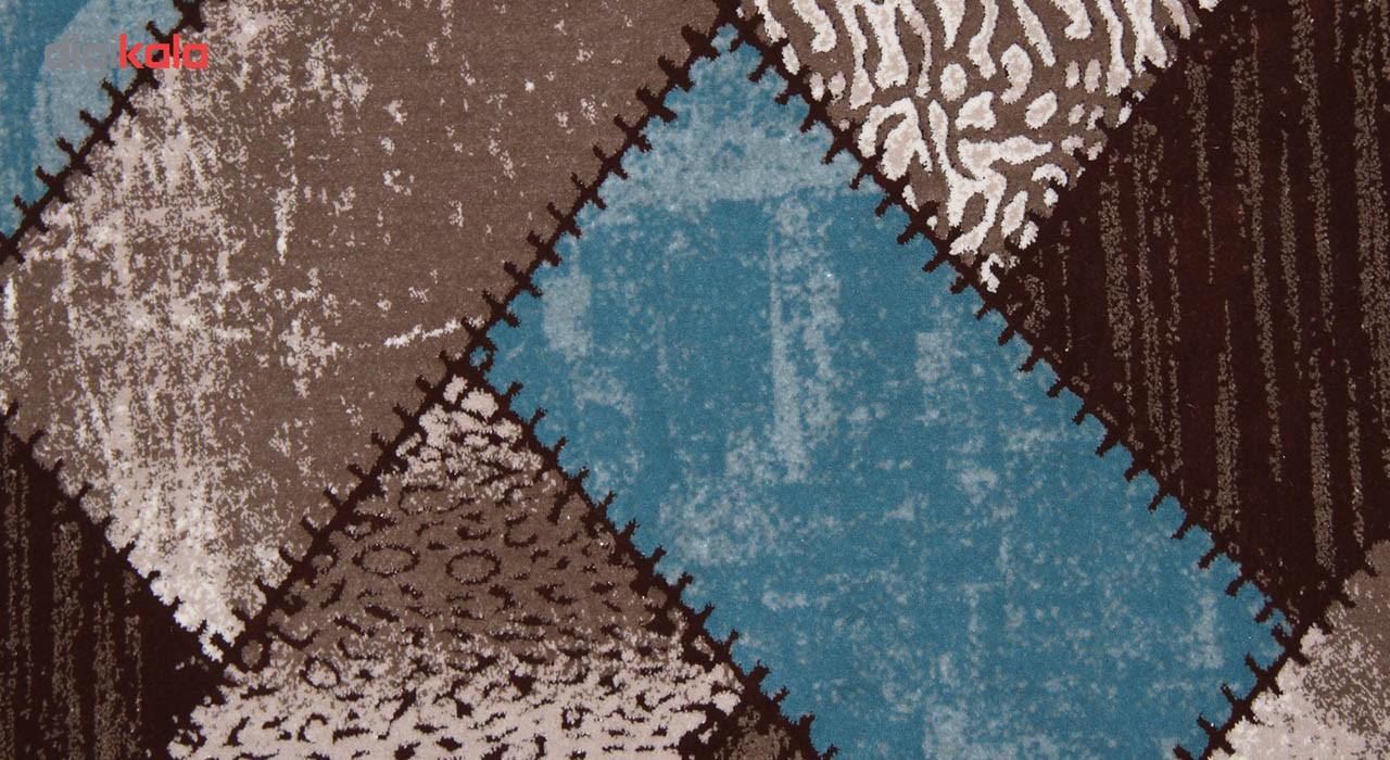 فرش ماشینی زمرد مشهد طرح 7004 زمینه آبی صورتی
