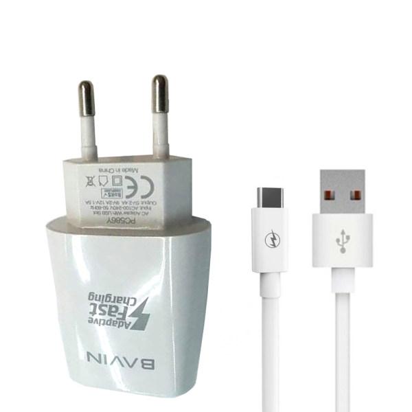 شارژر دیواری باوین مدل PC586Y به همراه کابل تبدیل USB-C