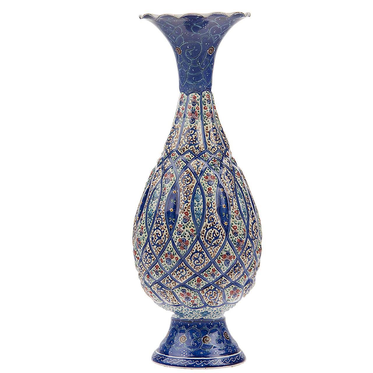 گلدان مسی میناکاری شده اثر شیرازی طرح 2 ارتفاع 20 سانتی متر