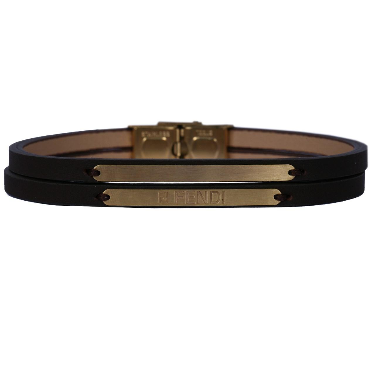 دستبند طلا 18 عیار نفیس گلد مدل طلا و چرم MG20