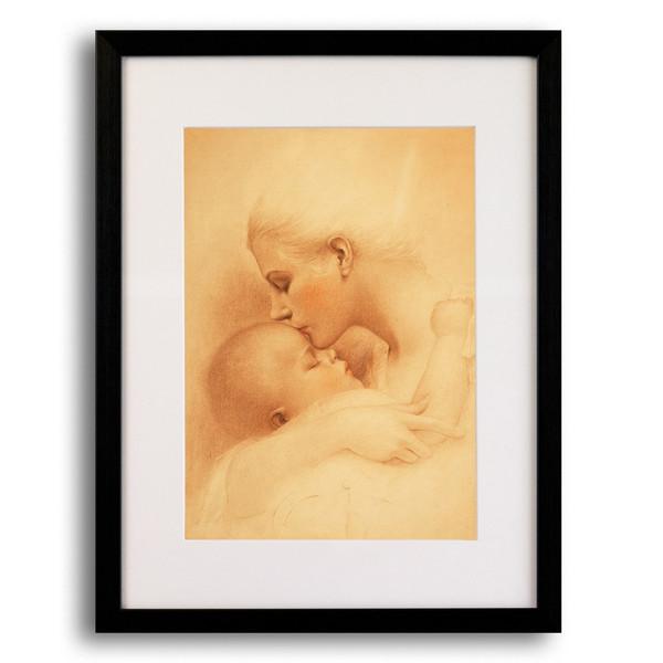 تابلو گروه هنری ارژنگ طرح بوسه ی مادر کد A012 سایز 30x40 سانتی متر