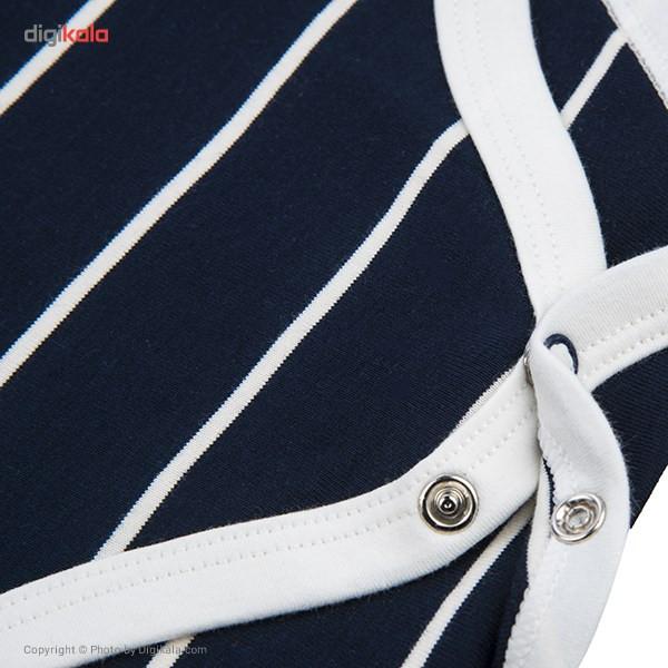 زیر دکمه دار رکابی نیلی مدل Navy Blue Stripes