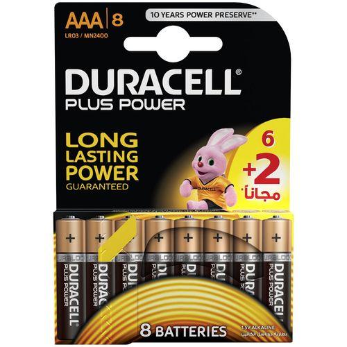 باتری نیم قلمی دوراسل مدل Plus Power Duralock بسته 6 + 2 عددی
