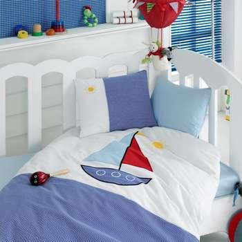 سرویس ملحفه کودک کاتن باکس طرح Yelkenli یک نفره 4 تکه | Cotton Box Yelkenl Child Bedsheet Seti 1 Person 4 Pcs