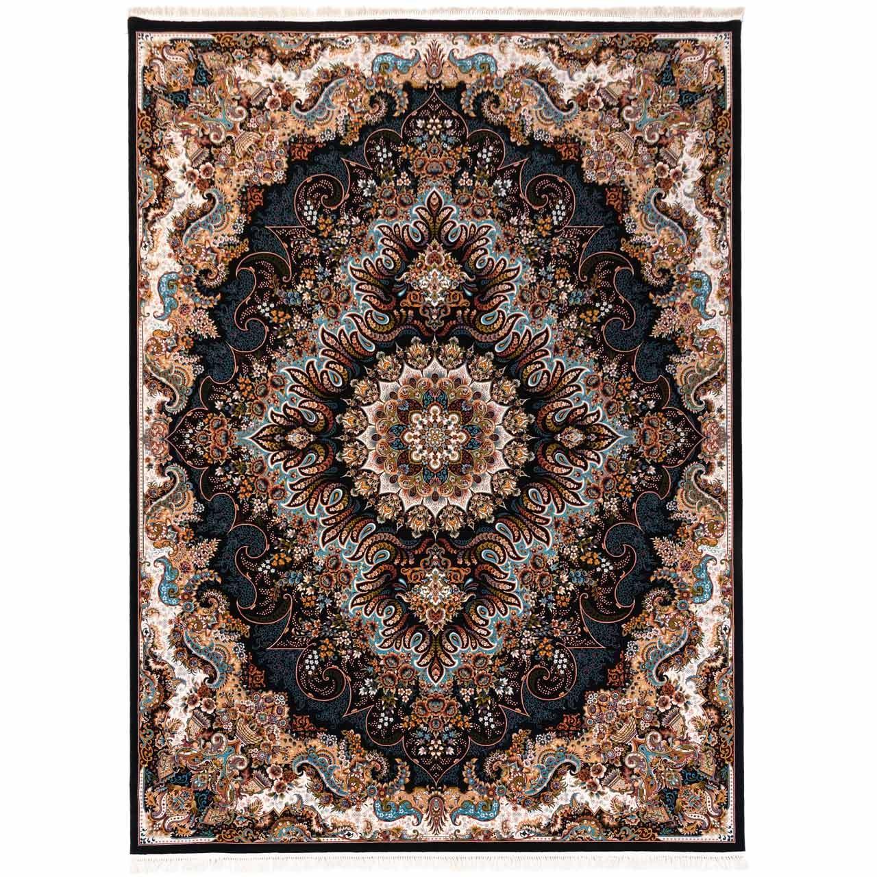 فرش ماشینی دنیای فرش طرح آروین زمینه سورمه ای