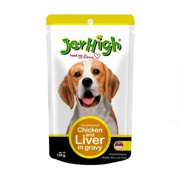 پوچ سگ جرهای مدل Chicken And Liver وزن 120گرم