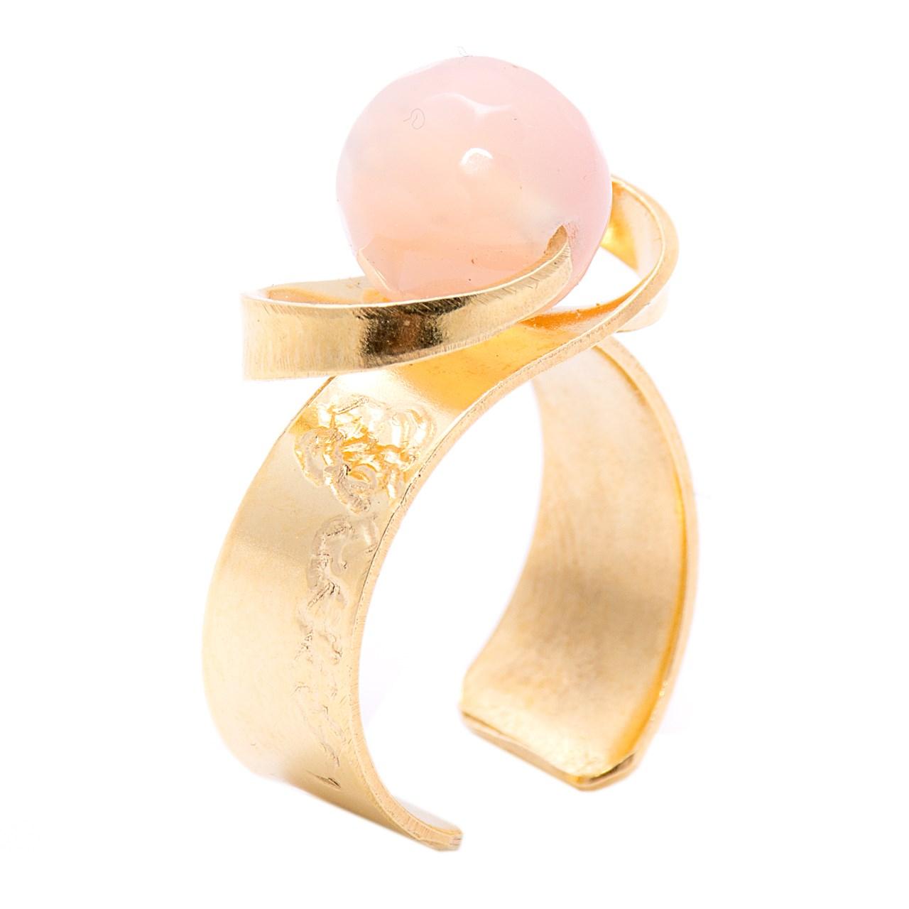 خرید                     انگشتر باربد طرح ساده مدل سنگ ماه تولد کوارتز صورتی