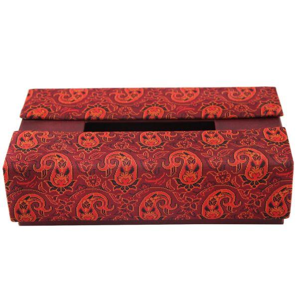 جعبه دستمال کاغذی ترمه سنا طرح تک گل قرمز کد 115026