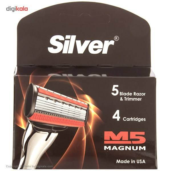 تیغ یدک 4 عددی سیلور مدل M5 Magnum main 1 1