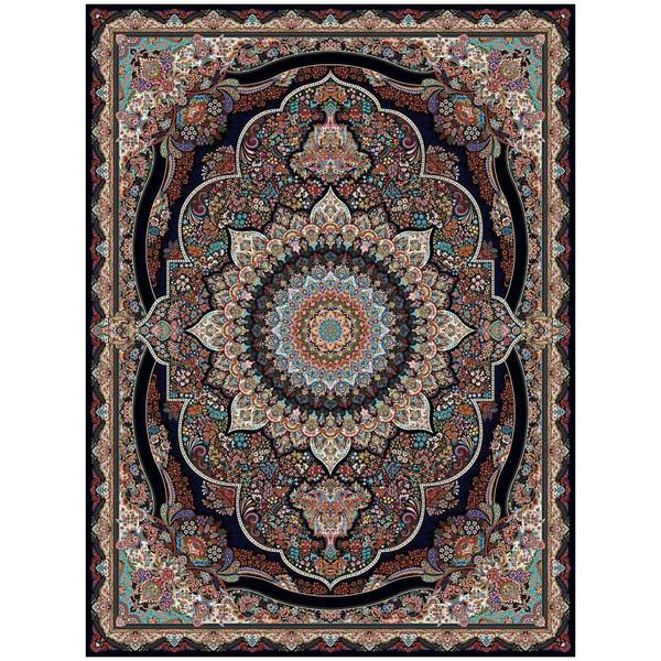 فرش ماشینی ماندگار پارس طرح پرهام زمینه سورمه ای