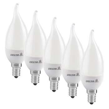 لامپ ال ای دی 7 وات دلتا مدل اشکی پایه E14  بسته 5 عددی
