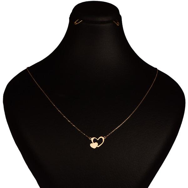 گردنبند طلا 18 عیار زنانه کرابو طرح دوقلب مدل Kr7023