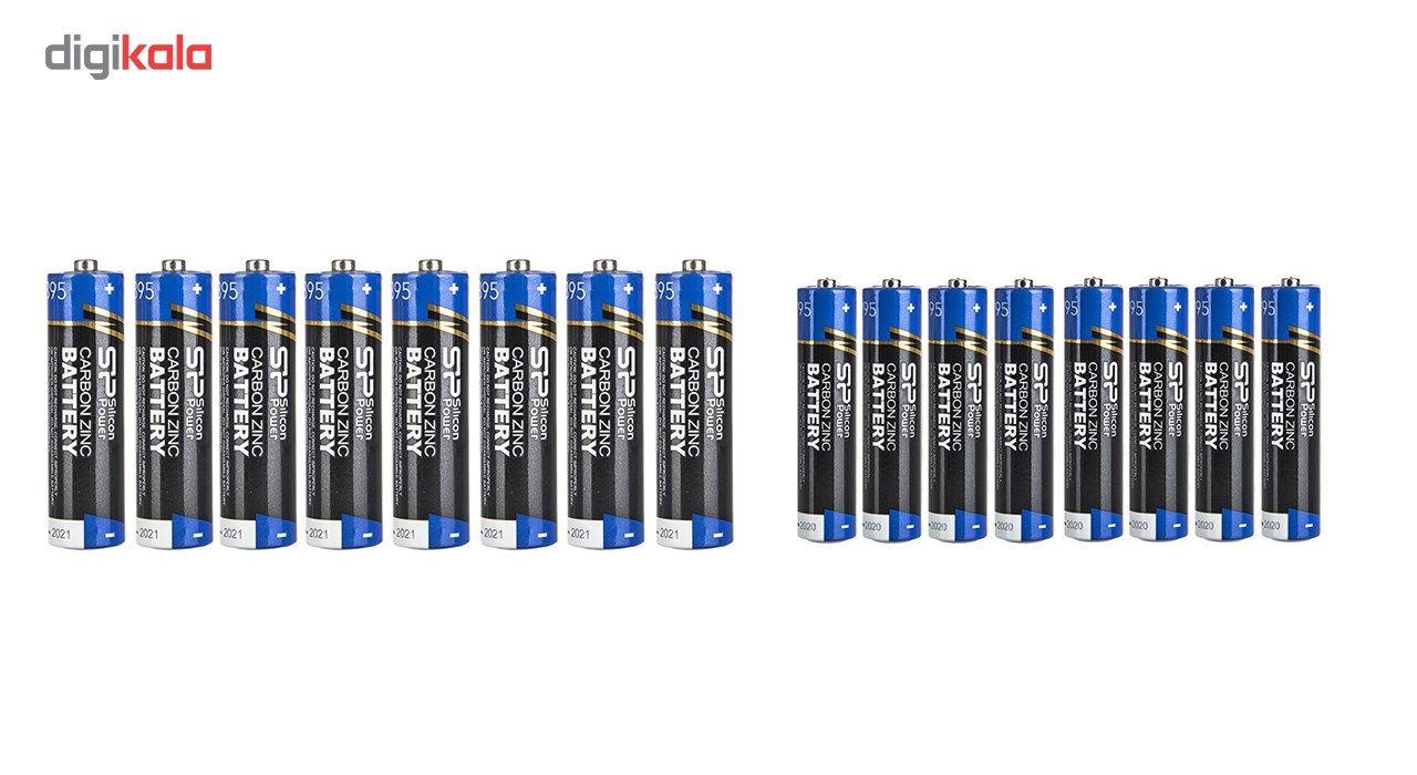 باتری قلمی و نیم قلمی سیلیکون پاور مدل Carbon Zinc بسته 16 عددی main 1 1