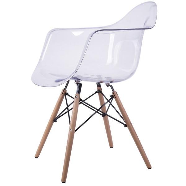 صندلی کروماتیک مدل Clear Armchair Wood Legs
