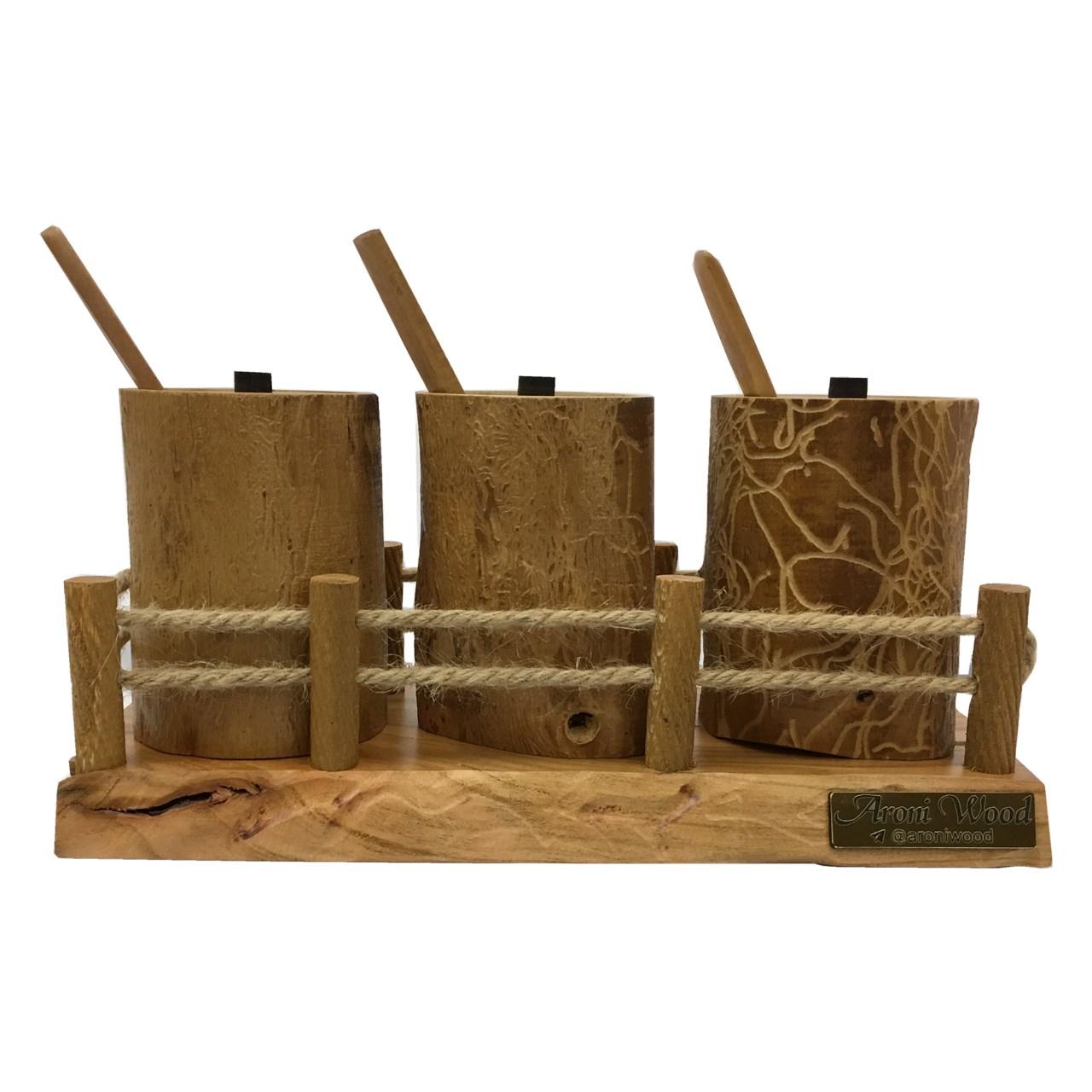 جا ادویه ای 3  پارچه آرونی چوب طرح روستیک مدل RONIKA