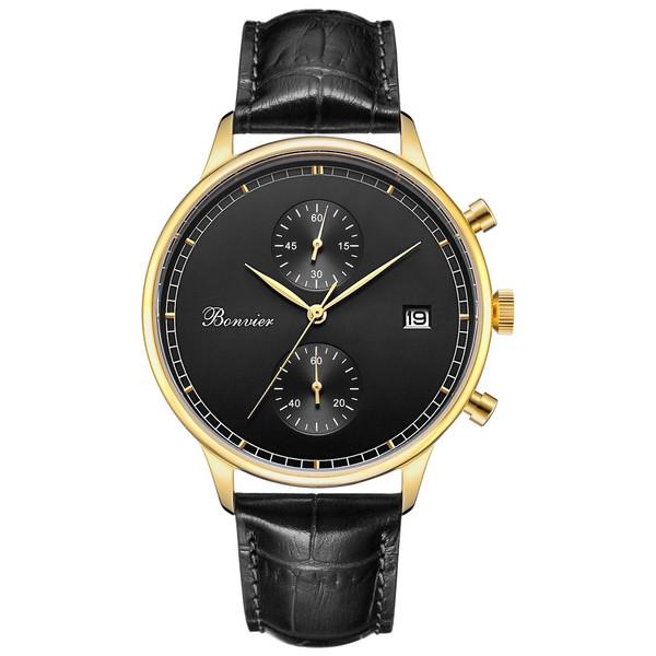 ساعت مچی عقربه ای بونویر مدل Lugano Black/Gold